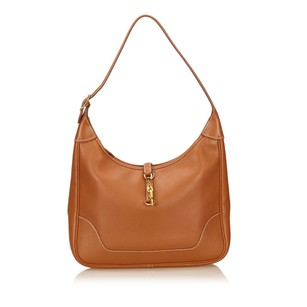 Hermès Brown Gold Leather 6hhesh004 Shoulder Bag