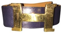 Hermès CHECK STOCK Gold Buckle 42mm Navy Blue Leather Belt HTL102 NOT AT STORE
