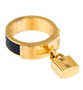 Hermès Gold-tone Hermes navy blue leather scarf ring