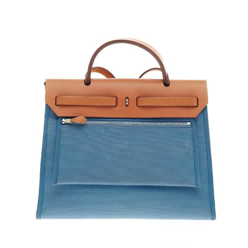 24db4010b ... switzerland hermès herbag zip leather and canvas pm tote in blue.  1234567 edcac 805f5
