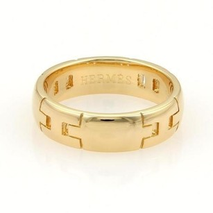 Hermès Hermes 18k Yellow Gold 5mm Wide Logo Wedding Band Ring