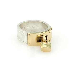 Hermès Hermes 18k Yellow Gold 925 Silver H Padlock Band Ring