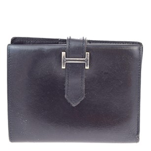 Hermès HERMES Bifold Wallet Purse Leather Black