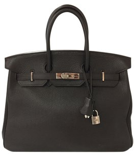 Hermès Reserved For Lisa 35 Satchel in Chocolate Brown