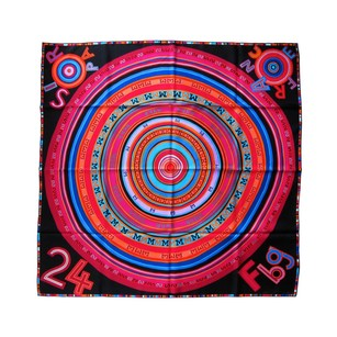 Hermès Hermes Black Multi-Color Tohu Bohu Silk Carre Scarf 90cm Grail