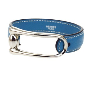 Hermès HERMES Bracelet Bangle Leather Blue