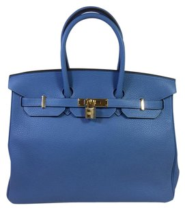 Hermès Hermes Clemence Leather Satchel in Blue