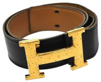 Hermès HERMES CONSTANCE H BUCKLE BELT BLACK GOLD #65 FRANCE VINTAGE