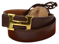 Hermès HERMES Constance H Buckle Leather Gold Brown #80 Belt