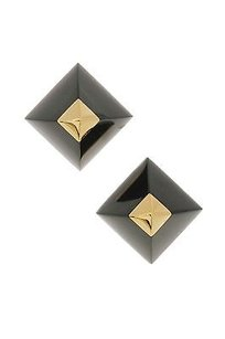 Hermès Hermes Gold Plated Black Enamel Cupidon Stud Earrings