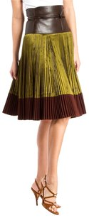 Hermès Hermes Green Brown Silk Skirt Green/Brown