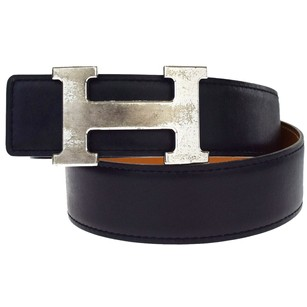 Hermès HERMES H Buckle Belt Leather Silver Black