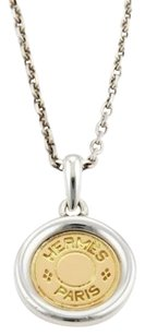 Hermès Hermes 18k Yellow Gold Sterling Silver Medal Pendant Chain