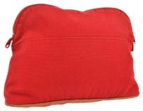 Hermès HERMES LOGOS BOLIDE COSMETIC POUCH BAG RED COTTON VINTAGE FRANCE