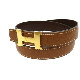 Hermès HERMES Mini Constance H Buckle Reversible Brown Leather Belt #70