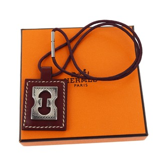 Hermès HERMES Necklace Silver Leather