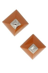 Hermès Hermes Palladium Plated Orange Enamel Cupidon Stud Earrings