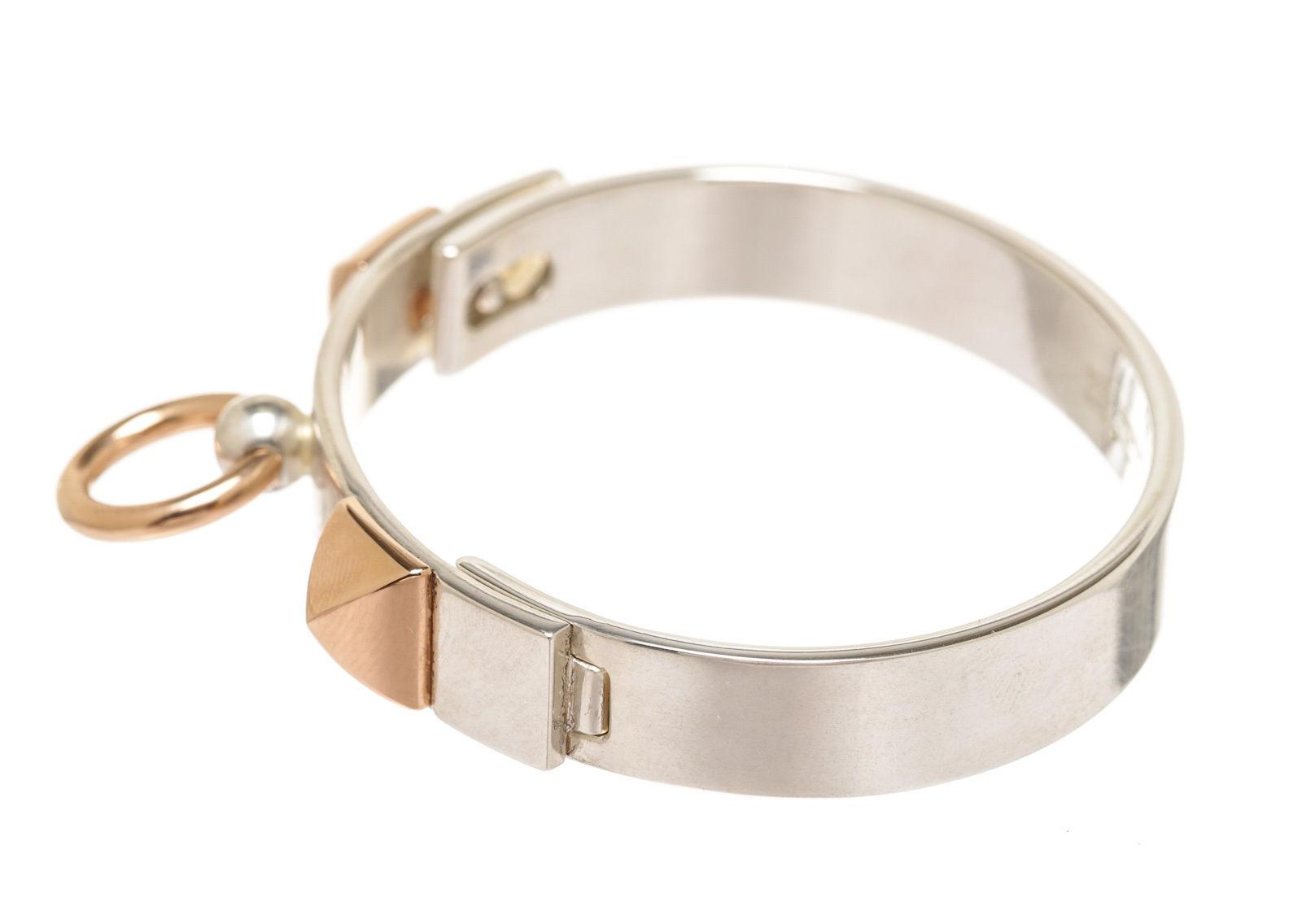 b4669a8e106 ... coupon code hermès silver and rose gold cdc collier de chien 209925 sh bracelet  tradesy bd66c
