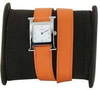 Hermès Hermes H Hour Pm White Dial Orange Double Tour Strp Watch Hh1.210.131wor