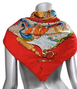 Hermès Hermes Womens Red Multicolor Silk Twill Peacockfan Motif Pattern Scarf