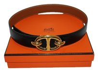 Hermès PHOTOGPRAPH Hermes Rare Gold Buckle with Black/Brown Epsom Reversible Belt sz 65 HTL75S