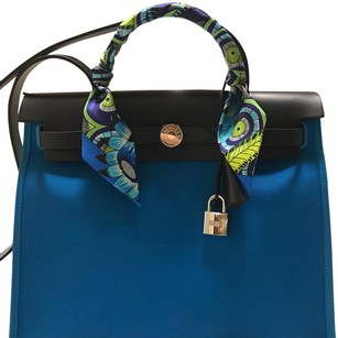 Herms Satchel in Blue / Black