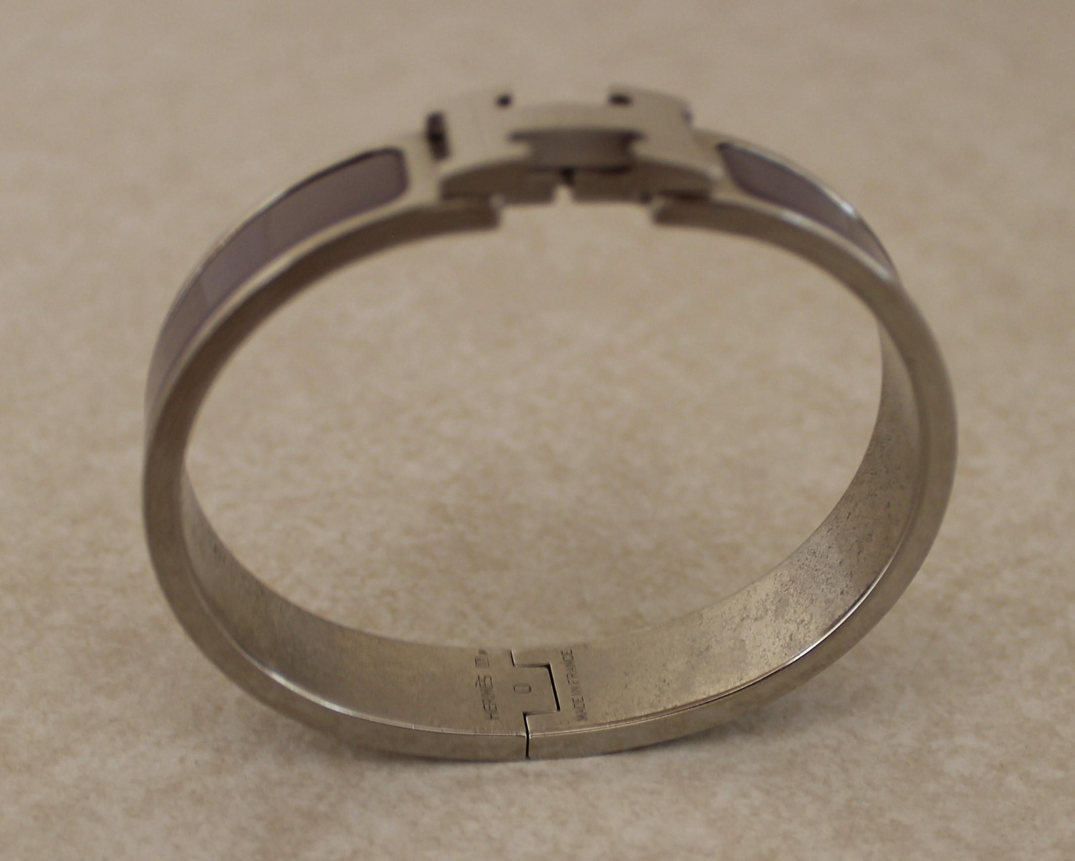 7d9717f5f0d ... shopping hermes bangle hermès silver lavender enamel clic clac h lock  with box and the set