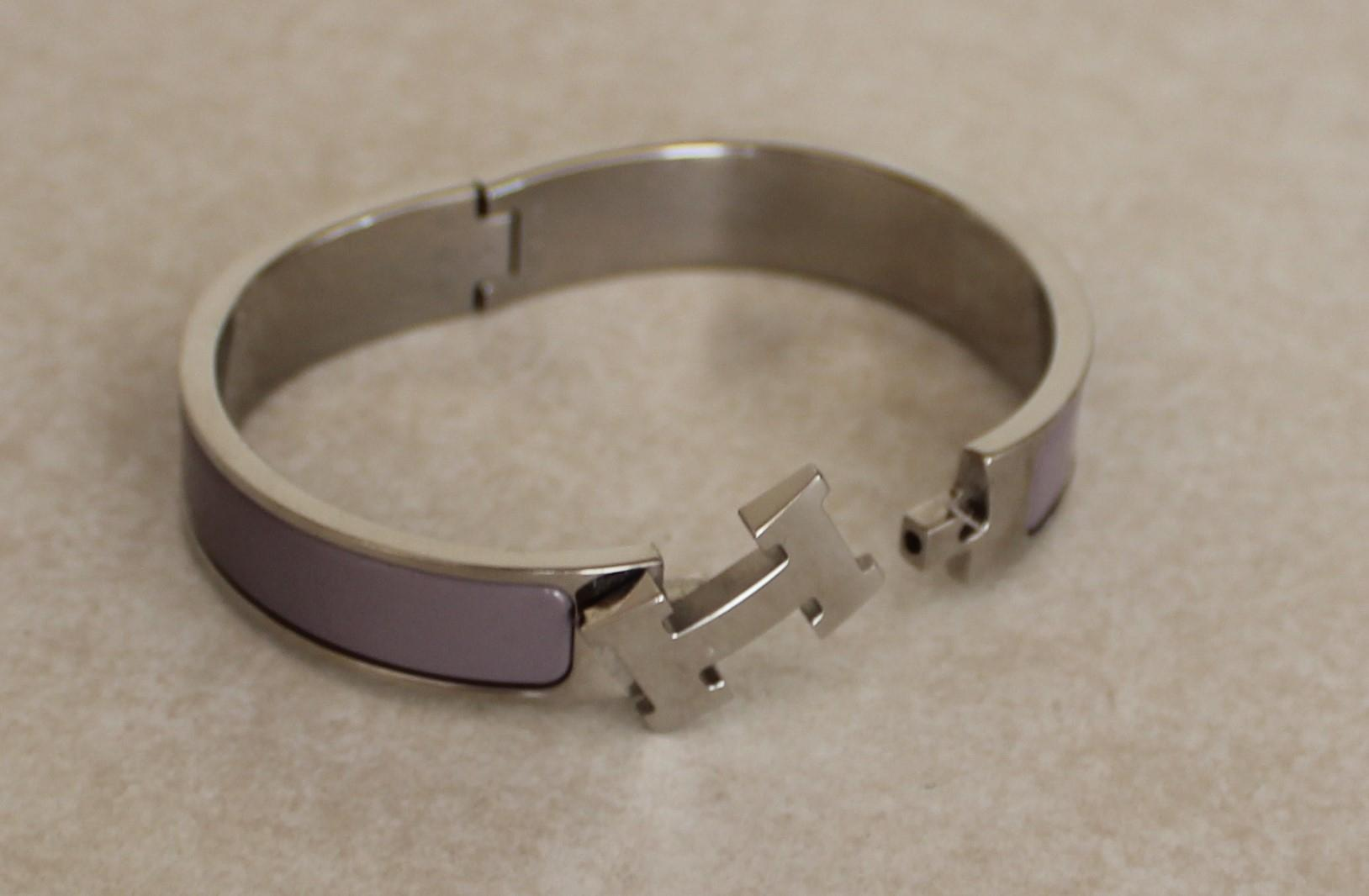 01cab25b305 ... shopping hermès silver lavender enamel clic clac h lock with box and  the set bracelet tradesy