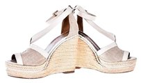 Herms Wedge White toile /leather Sandals