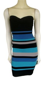Hervé Leger Body Con Stretch Strapless Dress