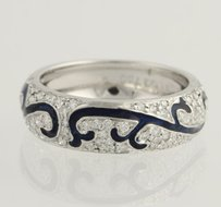 Hidalgo Hidalgo Diamond Scroll Band 18k White Gold Stackable Ring Blue Enamel .47ctw
