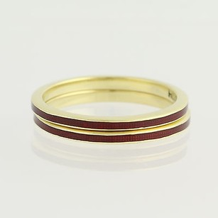Hidalgo Set Of Two Hidalgo Stackable Bands - 18k Yellow Gold Red Enamel Womens Rings