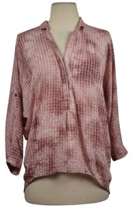 Holding Horses Holding Womens Plaid Tie Dye Hi Lo Shirt V Neck Top Pink