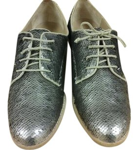 Hoss intropia Sequined Made In Spain Oxford Leather silver Flats