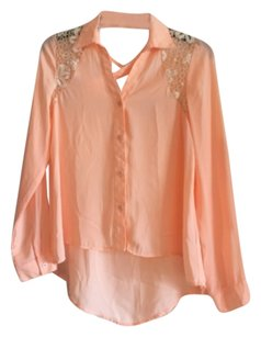 Hot & Delicious Button Down Shirt Peach