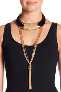 House of Harlow 1960 House of Harlow Nicosia Black Enamel Gold Statement Choker Necklace