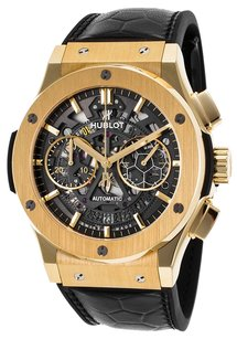 Hublot HUBLOT Men's Classic Fusion Pele Ed Auto Chrono Black Alligator 18K Yellow Gold