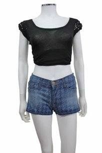 Hudson Jeans Nico Mid Rise Denim Cut Off Shorts Blue