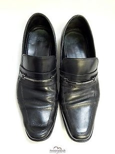 Hugo Boss Black Leather Loafers Shoes