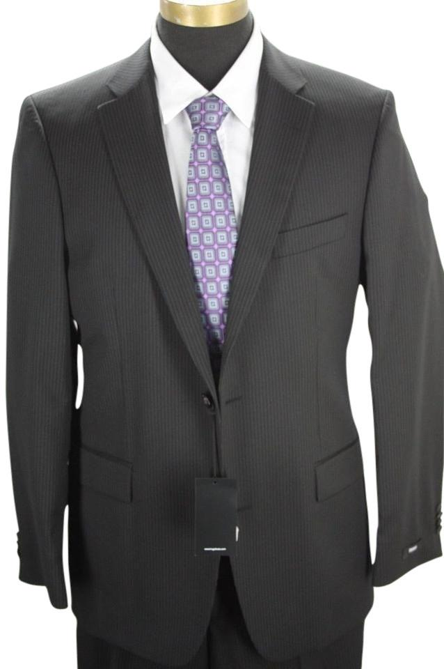 Hugo Boss Paolini movio Wool Suit size 40L $795 2 button NWT black pinstripe  ...