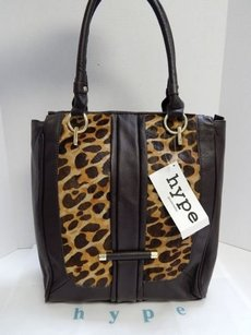 Hype Leather Leopard Tote in Brown
