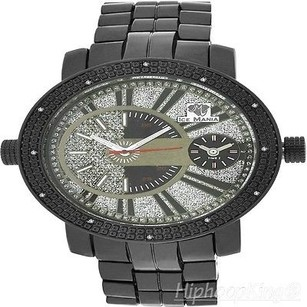 Ice Mania Black Gold Finish Metal Band Iced Out Real Diamond Exclusive Custom Mens Watch