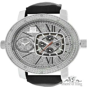Ice Mania Ornate 14k White Gold Finish Diamond Men Leather Band Ice Mania Watch Jojo Rodeo