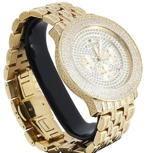 IceTime Mens Icetime Prince Diamond Watch Yellow Steel 48mm Case Illusion Dial Ct.