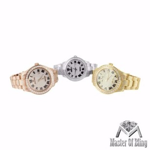 IceTime Mens Ct Diamond Roman Date Dial Rose Yellow White Gold Finish Icetime Watches
