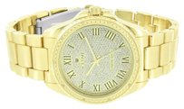 IceTime Mens Diamond Watch Gold Finish Icetime Roman Numeral Index Mark Water Resistant