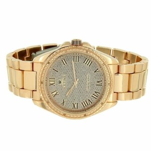 IceTime Rose Gold Tone Watch Illusion Dial Roman Number Dial Icetime Real Diamond Bezel