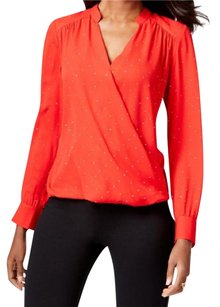 INC International Concepts Surplice Embellished Top Red