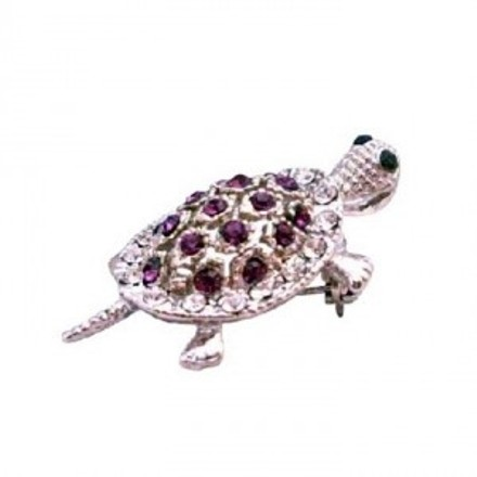 Inexpensive Turtle Brooch Pin & Pendant In Amethyst Sparkling Crystals