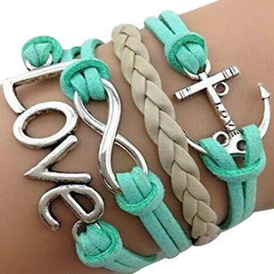 Infinity Love Mint Infinity LOVE Anchor Wristband